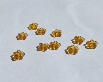 7mm Golden Citrine Glass Flower Rondelle Spacer Beads