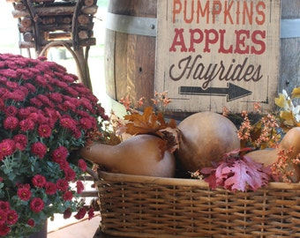 PUMPKINS apples HAYRIDES rustic barn wood sign Fall sign halloween rustic fall decor fall front porch signs apple orchard harvest moon