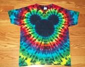 Tie Dye Mickey, S M L xl 2x 3x 4x 5x 6x, Kids, Adult, Plus Size tie dye Shirt, Mouse tie dye Dark Rainbow