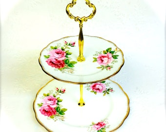 Royal Albert American Beauty 2 tier Cake Stand
