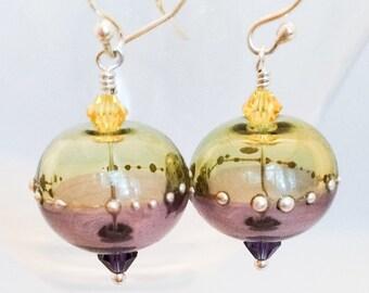 Lampwork Glass Earrings - Purple Gold Glass Earrings - Purple Lampwork Glass Earrings - Yellow Glass Earrings - Dangle Glass Earrings