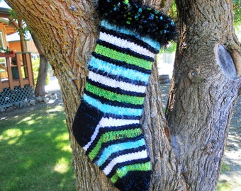 Black Boa Burst Knitted Christmas Stocking, Holiday Stocking