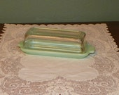 Vintage Jadeite Glass Fire King Jadite BUTTER DISH Tray depression 14 pound stick