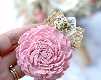Pink Sola Flower Pin // Pink, Wedding Boutonniere, Wedding Corsage, Burlap, Lace, Dried Flowers, Button Hole, Lapel Pin, Boutineer
