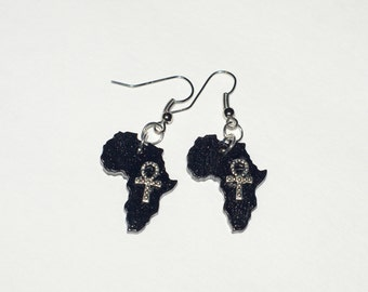 Small Africa Ankh Dangle Earrings