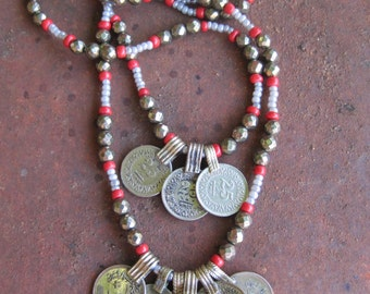 Kuchi Coins on double strand layered Beaded Necklace - Pyrite and Kuchi Coin Gypsy Boho Ethnic Layered Necklace