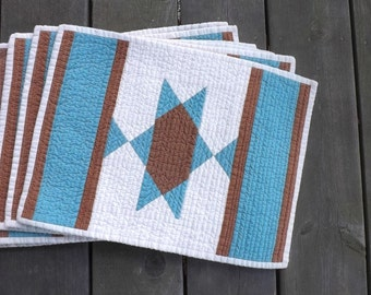 Turquoise Southwest Star quilted placemats (set of 6) Texas Country western Mexican Indian horse blanket farmhouse Americana casual dining