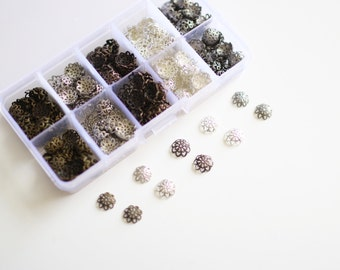 Assorted Flower Bead Cap Filigree Box (Silver, Bronze, Copper) - 525pcs - 9mm - Ships IMMEDIATELY from California - CASE06