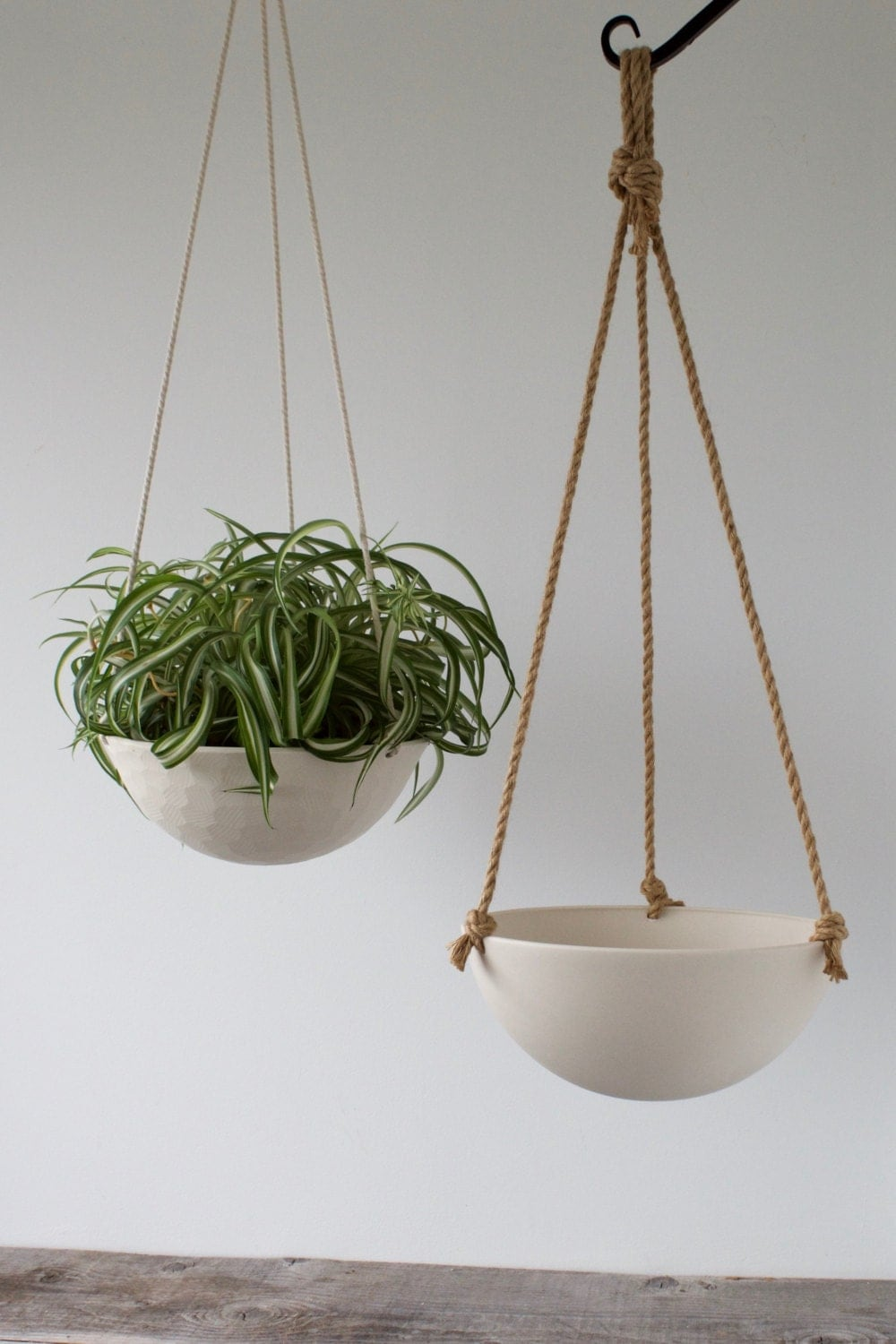 large hanging planter ceramic porcelain basket with jute or