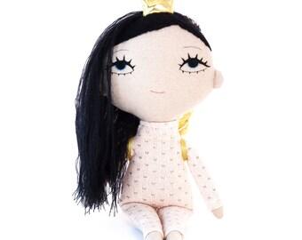 Princess doll, cloth doll, embroidered doll, ragdoll, fabric doll, soft art doll, stuffed doll, baby girl gift, plush doll, plushie, angel