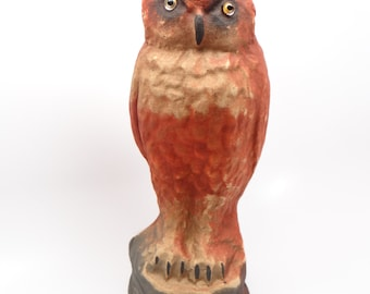 1940's Halloween 10 Inch Owl, Glass Eyes and Pulp Paper Mache Candy Container