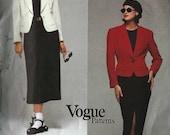 PATTERN Vogue 1306 One button shaped jacket defined waist wide lapels or A-line skirt Size 14-16-18 DKNY Vogue American Designer uncut
