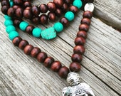 Yogi inspired 108 wood bead meditation mala with turquoise gemstones love bead and silver elephant charm