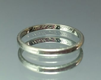 ANTIQUE 18k Art Deco Wedding Band Ring white gold, dated 1927