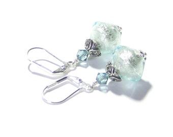 Aquamarine Murano Glass Earrings, Sterling Leverbacks, Lampwork Glass Foil Earrings,  Venetian Jewelry, Italian Jewelry,  Dangle Clip-Ons