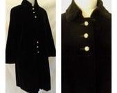 Vintage '50s Swingcoat Designer Lou Ritchie Black Velvet Rhinestone Button Jacket Formal Lined Hollywood Starlet Dress Coat - Sz 6 8 Medium
