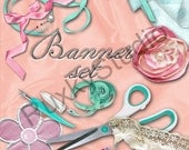 Shop Banner Set shop icon,banner,avatar,custom order,reserved -clothing,sewing,pink,blue