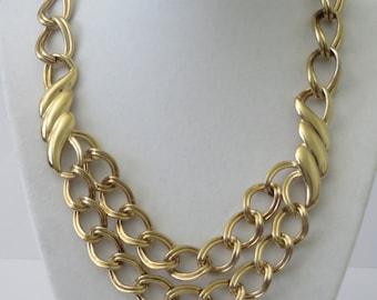 Monet Vintage Gold Tone Large Links Necklace
