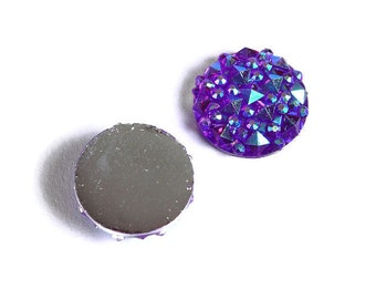 12mm Purple AB round resin cabochon - Faux druzy cabochon - Faux drusy cabochon - Textured cabochons (1677) - Flat rate shipping