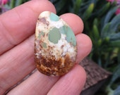 Large Hachita turquoise. Freeform. Hand cut stone. Turquoise cabochon. Green Brown and white Stone.
