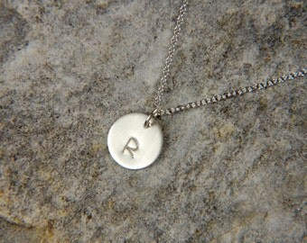 Silver Disc Necklace 10 mm Personalized Necklace Dainty Silver Necklace Initial Charm Necklace