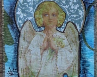 Protection / Original ACEO / Mixed Media Collage / OOAK / Miniature Art  / guardian angel / religious / spiritual / art card /