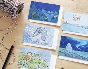 Holiday Gift Tag Set - Owl Art Mini Cards - Set of 5