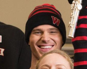 Striped Beanie - Cheer, Lacrosse, Campus, Band, Dance, School Spirit