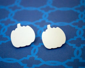 Pumpkin Earrings -- White Pumpkin Studs, Halloween Earrings