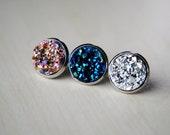 GALACTIC -- Druzy Post Earrings - Faux Druzy Earrings - Blue Druzy - Pink Druzy - Silver Druzy - Glitter Earrings - Sparkly Earrings