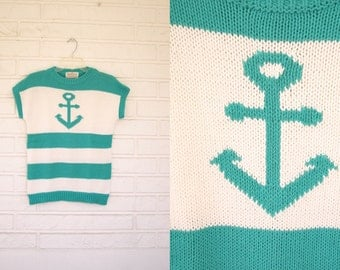 Vintage 80s aqua and white striped anchor sweater top size Small