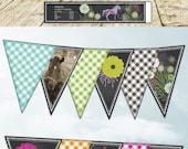 Horse Equestrian Birthday Banner Party Set - Chalk Chalkboard - all occasion - printable digital