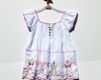 EASTER Colors Embroidered Smocked India Cotton BOHO BabyDoll Summer Top