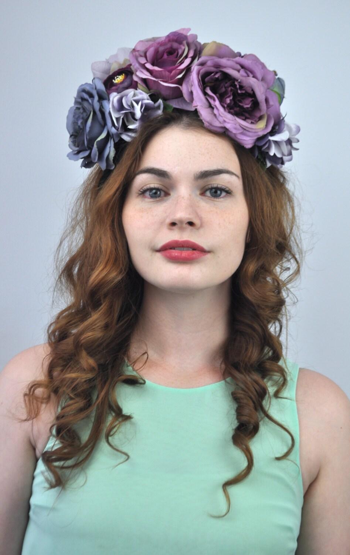 Headbands turbans luna purple flower crown headband floral headpiece fall flower crown fall bridal izmirmasajfo