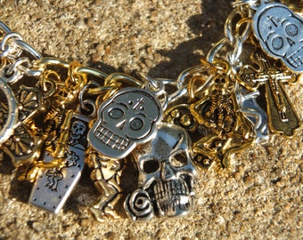 BEAUTIFUL DEAD Day of the Dead Themed Silver and Gold Charm Bracelet