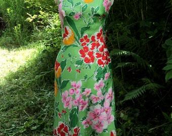 Green Silk Floral Slip Dress