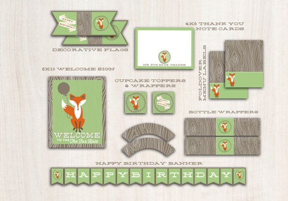 Fox Party Pack in GREEN - Fox Birthday Party - Fox party package printables