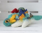 Turquoise sea dragon, Needle felted Dragon toy, Fantasy dragon figurine