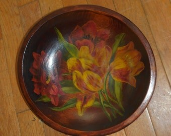 Carved Wooden Bowl Painted Tulips Hand Made Wall Hanging OR Table Display
