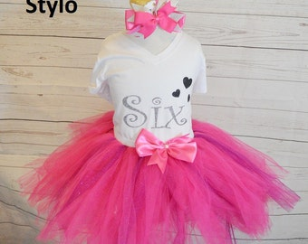 sixth birthday outfit,FREE SHIPPING,birthday outfit,birthday girl outfit, sixth birthday tutu,hot pink tutu,girl birthday outfit