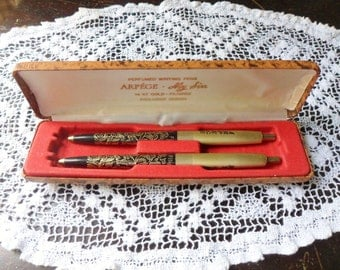 Arpege Ball Point Pen Set, My Sin Perfumed Writing Pens, 14kt Gold Filigree Pens