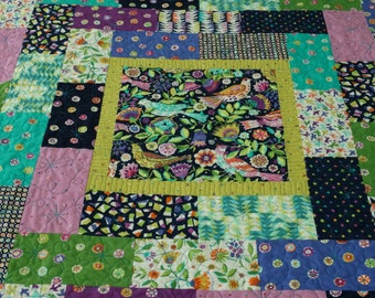 Folk Birds Lap Quilt, Throw