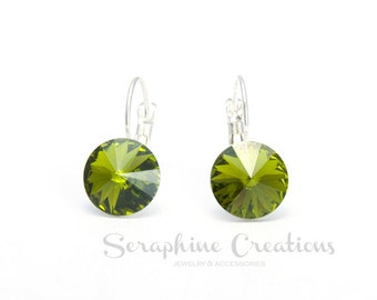 Olive Green Earrings Swarovski Rivoli Crystal Olivine Earrings Sparkly Bridal Bridesmaid Gift Bridal Bridesmaid Jewelry Dark Green K011