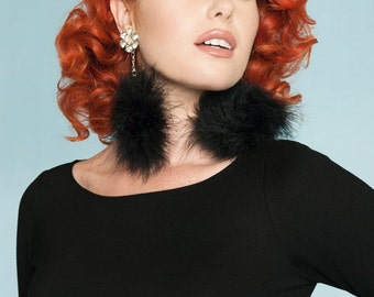 Black Pom Pom feather earrings: Fluffy faux fur feathers with silver chain and crystal stud