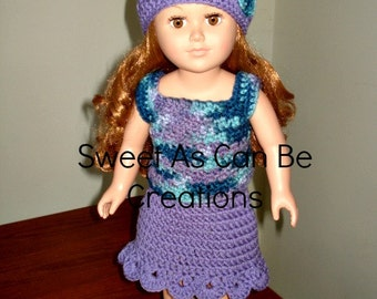 18 inch doll or American Girl Tank top skirt set