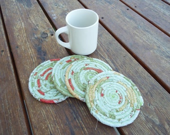 Clothesline Coasters, Coasters, Coiled Coasters, Scrappy Coasters,  Fabric coasters, Set of 4, maps, geography