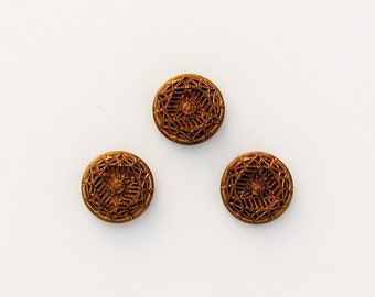 Antique metal button set, 3 Victorian buttons, set of ornate gold metal buttons