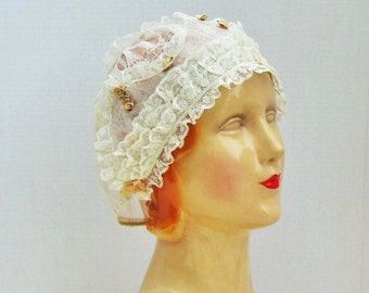 Antique boudoir cap, c.1910's lace trimmed boudoir cap with silk ribbon rosettes