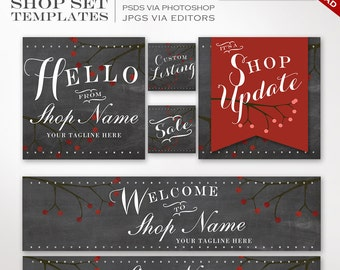 Etsy Shop Set - 20 Piece Chalkboard DIY Template Editable Shop Template Set - Blackboard Berry Etsy Cover Banner Etsy Shop Set Etsy Template