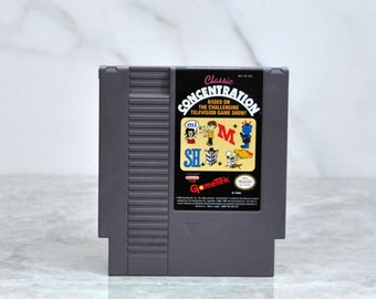Vintage Nintendo Game Classic Concentration (NES) by GameTek 8 bit 1990 - Puzzle - Word Game - Word Tiles - Prizes - Game Show - Game Show